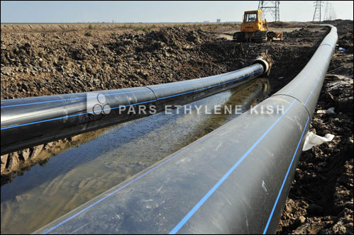 black plastic water supply pipe